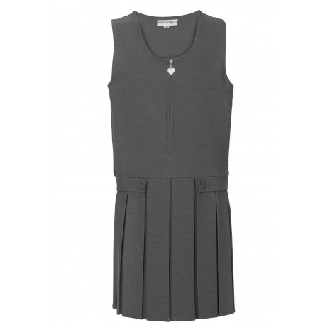Two Button/Flap Pinafore - Grey